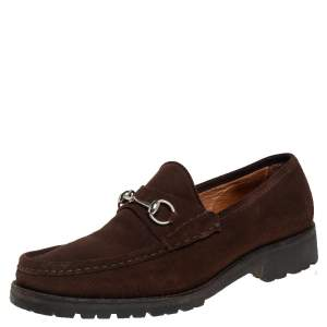 Gucci Brown Suede Horsebit  Slip on Loafers Size 45.5