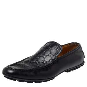 Gucci Black Guccissima Leather Slip On Loafers Size 44