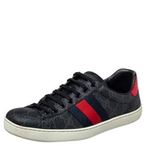 Gucci Grey GG Supreme Canvas Ace Sneakers Size 39.5