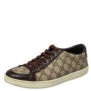 Gucci Beige/Brown GG Supreme Canvas and Leather Low Top Sneakers Size 39