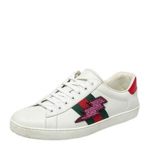 Gucci White Leather And Canvas Crystal Embellished Lightning Bolt Ace Low Top Sneakers Size 43.5