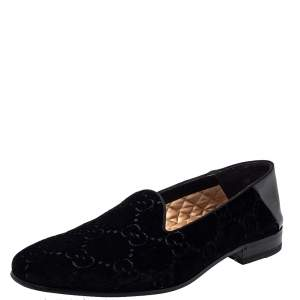 Gucci Black Guccissima Velvet And Leather Bee Print Smoking Slippers Size 43