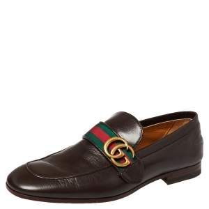 Gucci Brown Leather GG Web Loafer Size 40