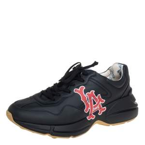 Gucci Black Leather Rhyton LA Angels™ Print Low Top Sneakers Size 44.5