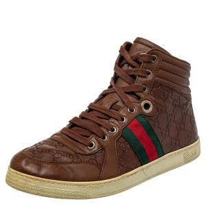 Gucci Brown Guccissima Leather Web Detail High Top Sneakers Size 40
