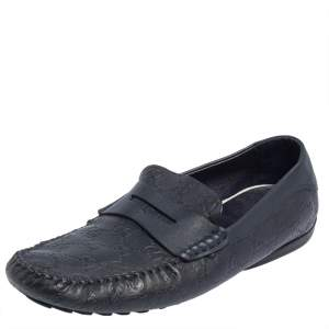 Gucci Dark Blue Leather Penny Slip On Loafers Size 44.5