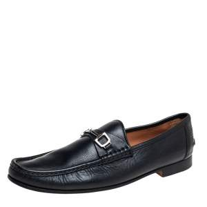 Gucci Black Leather Slip On Loafers Size 46