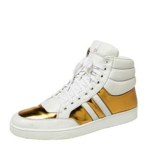 Gucci White/Gold Leather Lace Up High Top Sneakers Size 43.5