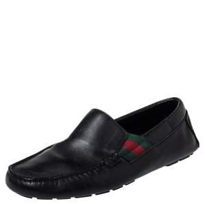 Gucci Black Leather Web Detail Praga Slip On Loafers Size 41.5