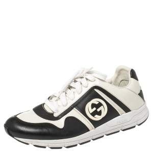 Gucci Black/White Leather Interlocking GG Lace Up Low Top Sneakers Size 40.5