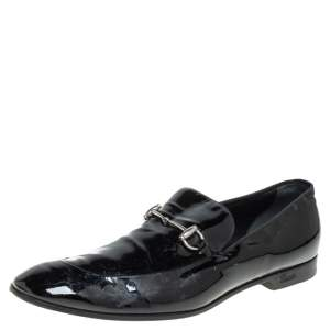 Gucci Black Patent Leather Horsebit Slip on Loafers Size 43.5