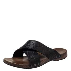 Gucci Black Guccissima Leather Criss Cross Slide Sandals Size 40.5