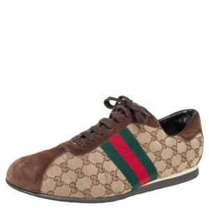 Gucci Beige/Brown GG Canvas and Suede Classic Web Low Top Sneakers Size 46.5