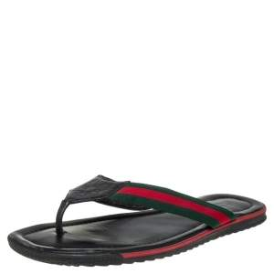 Gucci Black Guccissima Leather Web Detail Thong Flat Size 45