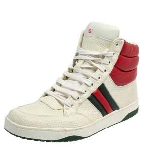 Gucci White/Red Leather New Praga Karibu High Top sneakers Size 42.5