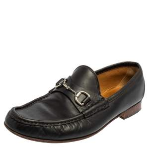 Gucci Black Leather Horsebit Slip On Loafers Size 43