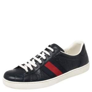حذاء رياضي غوتشي إيس جلد غوتشيسيما أزرق داكن مزين نمط ويب مقاس 41