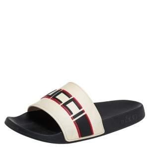 Gucci Ivory White Rubber Gucci Stripe Logo Flat Sides Size 42