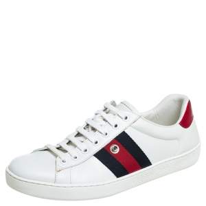 Gucci White Leather Ace Web Low Top Sneakers Size 41