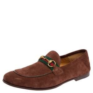 حذاء لوفرز غوتشي سويدي بني مزين ويب سليب أون مقاس 41.5