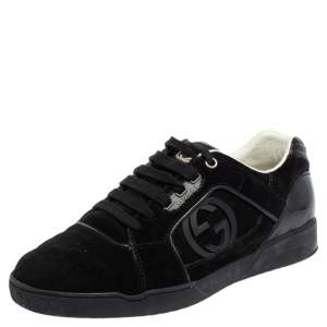 Gucci Black Suede Interlocking G Logo Low Top Sneakers Size 40.5