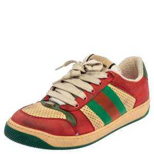Gucci Multicolor Leather Distressed Low Top Sneakers Size 40