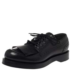 Gucci Black Brogue Leather Fringe Lace Up Derby Size 41