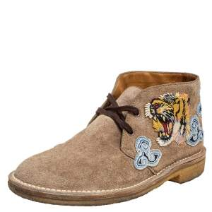 Gucci Brown Suede Embroidered Desert Boots Size 40.5
