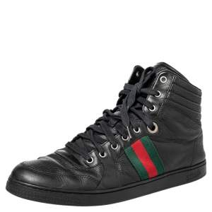 حذاء رياضي غوتشي جلد أسود ويب عنق مرتفع مقاس 44