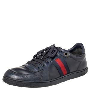Gucci Navy Blue Leather Web Low Top Sneakers Size 44