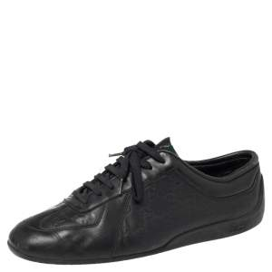 Gucci Black Guccissima Leather Low Top Sneakers Size 42.5