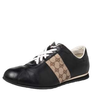 Gucci Black/Beige Leather And Canvas Low Top Sneakers Size 45