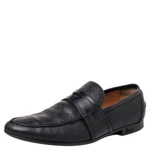 Gucci Black Leather Slip on Loafers Size 41.5