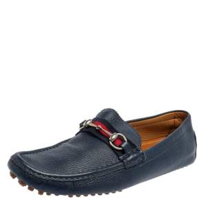 Gucci Blue Leather Horsebit Web Detail Driver Loafers Size 45.5