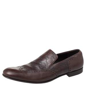 Gucci Brown Guccissima Leather Slip on Loafers Size 44.5