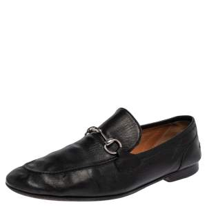 Gucci Black Leather Horsebit Slip On Loafers Size 44