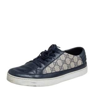 حذاء رياضي غوتشي جلد وكانفاس مقوى بيج / أزرق بعنق منخفض مقاس 43