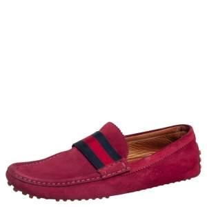 حذاء لوفرز غوتشي سويدي عنابي حافة ويب مقاس 43.5