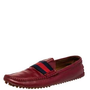 Gucci Red Leather Web Detail Slip On Loafers Size 43.5