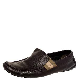 Gucci Brown Leather Web Detail Slip on Loafers Size 43