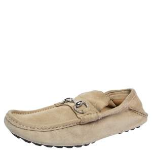 Gucci Beige Suede Horsebit Slip On Loafers Size 42