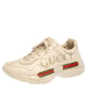 حذاء رياضي غوتشي ريتون جلد كريمي منخفض من أعلى مقاس 42.5