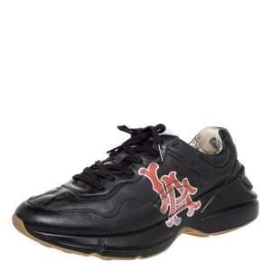 حذاء رياضي غوتشي رايتون بطباعة إل إيه أنجيلز جلد أسود بعنق منخفض مقاس 43