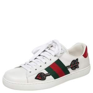 Gucci White Leather Ace Arrow Embellished Low Top Sneakers Size 40.5