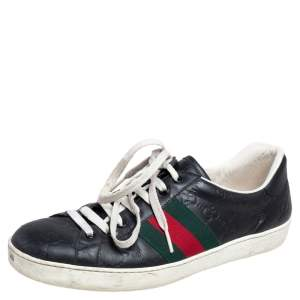 Gucci Balck Guccissima Leather Ace Web Low Top Sneakers Size 41.5