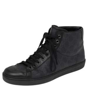 Gucci Black/Navy Blue GG Supreme Canvas And Leather Brooklyn High Top Sneakers Size 43