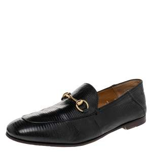 Gucci Black Lizard Embossed Leather Horsebit Slip On Loafers Size 44