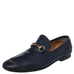 Gucci Blue Leather Horsebit Slip On Loafers Size 42