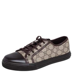 Gucci Brown Leather and GG Supreme Cap Toe Low Top Sneaker Size 41.5
