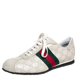 Gucci Off White Guccissima Leather and Suede Web Low Top  Sneakers Size 40